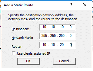 Route via DHCP Server